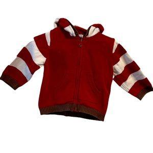Gap red white stripe zip up hooded sweater 6-12M